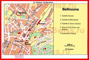 Карта Беллинцоны с достопримечательностями