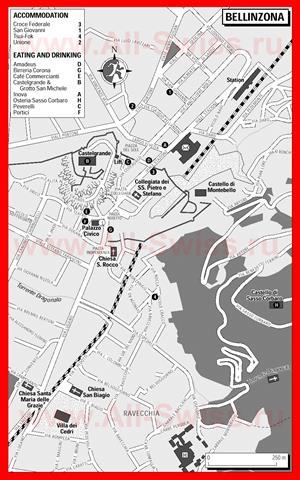 Туристическая карта Беллинцоны с отелями и ресторанами