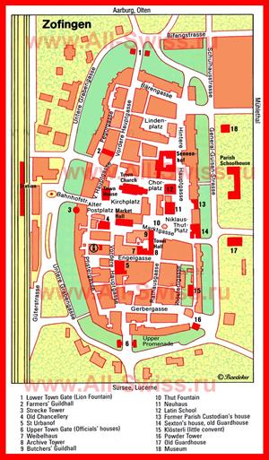 Туристическая карта Цофингена с достопримечательностями