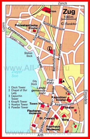 Карта Цуга с достопримечательностями