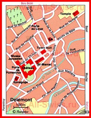 Туристическая карта Делемона с достопримечательностями