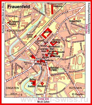 Туристическая карта Фрауэнфельда с достопримечательностями
