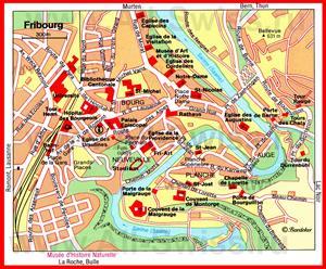 Карта Фрибура с достопримечательностями