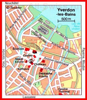 Карта Ивердон-Ле-Бена с достопримечательностями