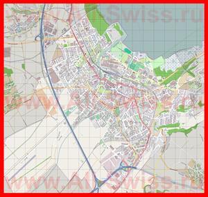 Подробная карта города Ивердон-Ле-Бен