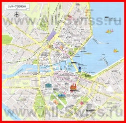 Карта Женевы с достопримечательностями