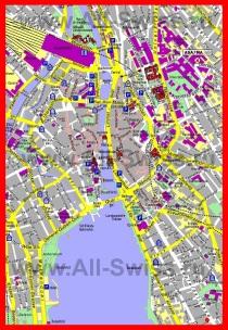Карта центра Цюриха с достопримечательностями