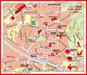Карта Кура с достопримечательностями