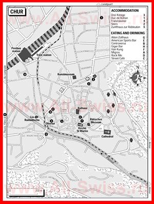 Туристическая карта Кура с отелями и ресторанами