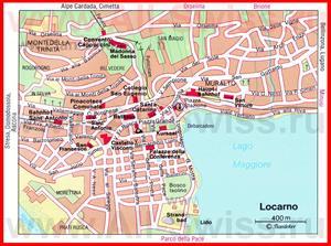 Карта Локарно с достопримечательностями