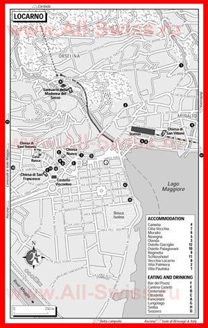 Туристическая карта Локарно с отелями