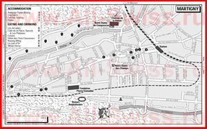 Туристическая карта Мартиньи с отелями и ресторанами