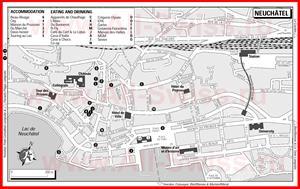 Туристическая карта Невшателя с отелями и ресторанами