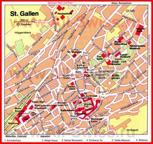 Карта Санкт-Галлена с достопримечательностями