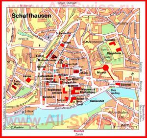 Карта Шаффхаузена с достопримечательностями