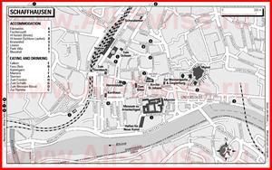 Туристическая карта Шаффхаузена с отелями и ресторанами