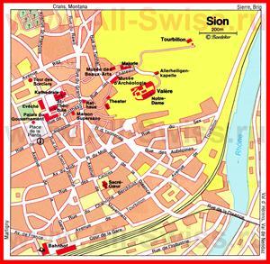 Карта Сьона с достопримечательностями