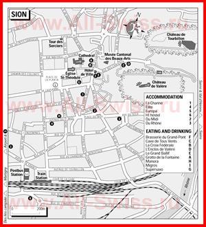 Туристическая карта Сьона с отелями и ресторанами