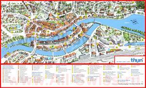 Туристическая карта Туна с достопримечательностями и отелями