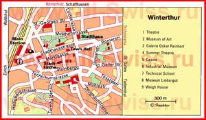 Туристическая карта Винтертура с достопримечательностями