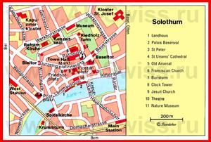 Туристическая карта Золотурна с достопримечательностями