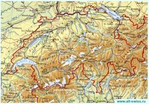 Физическая карта Швейцарии