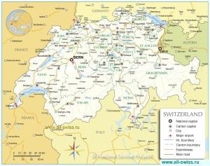Карта кантонов Швейцарии
