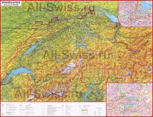 Подробная карта Швейцарии с городами