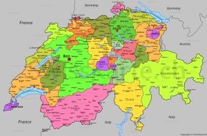 Политическая карта Швейцарии