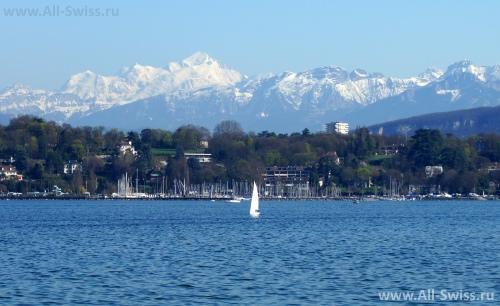 Красивый вид на Женевское озеро
