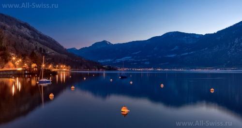 Красивый вид на Цугское озеро